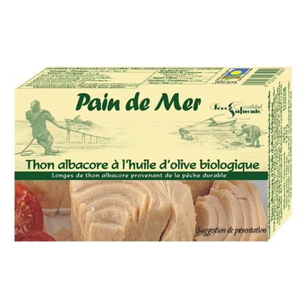 Thon albacore à l'huile d'olive biologique (120g)
