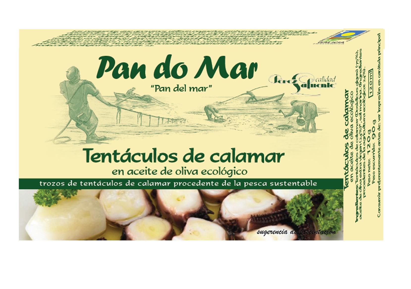 Tentáculos de calamar en aceite de oliva ecológico (120g)