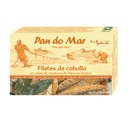 Filetes de caballa en salsa de mostaza de Dijon ecológica 120g