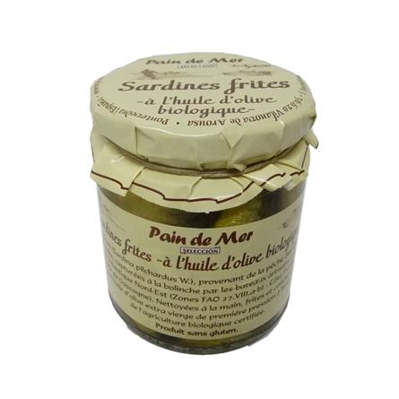 Sardines frites -à l'huile d'olive biologique-