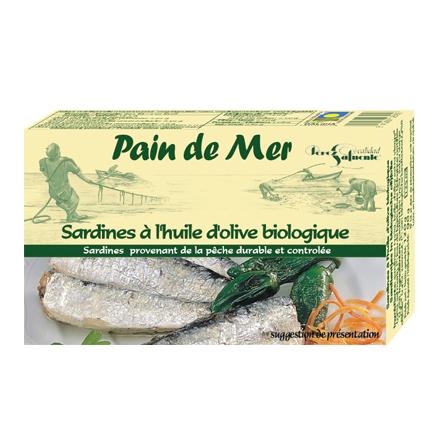 Sardines à l'huile d'olive biologique