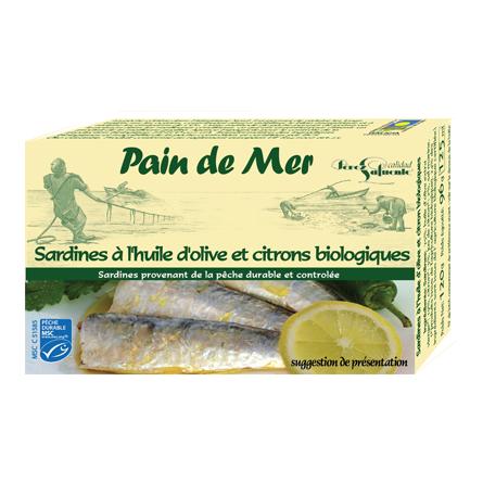 Sardines à l'huile d'olive et citrons biologiques