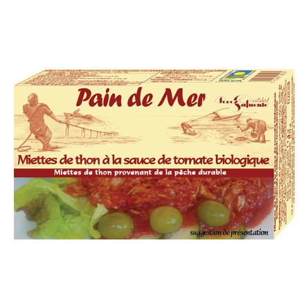 Miettes de thon à la sauce de tomate biologique  (114g)