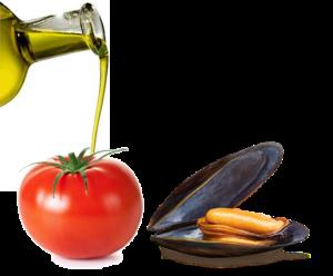 tomate y mejillón